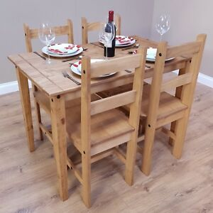 Corona Budget Dining Table And 4 Chairs Set Mexican Pine By Mercers