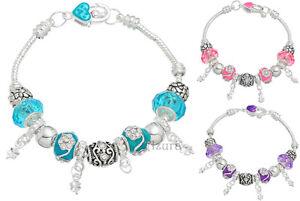 NEW-European-Style-Silver-Plated-Sparkle-Rhinestone-Dangle-Charm-Bracelet