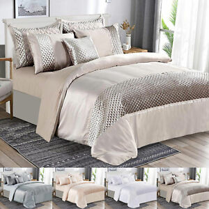 Luxury Velvet Bedspread Teddy Fleece Bedding Set /& Pillow Shams Double King Size