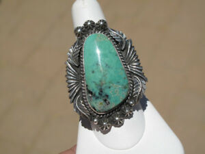 Heavy-Design-LG-Royston-Turquoise-amp-Sterling-Navajo-Ring-Size-8-5-sgnd-Charley