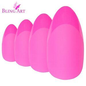 False-Nails-Matte-Pink-24-Fake-Almond-Bling-Art-Stiletto-Long-Tips-with-2g-Glue