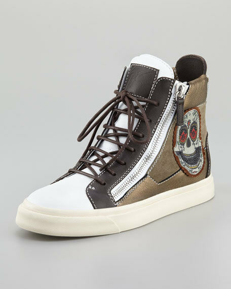 Auth Giuseppe Zanotti White Skull Embroidered Hi-Top Woman Woman Woman Sneakers 38 US 8  710 27e473
