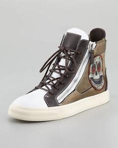 17bc85a7177fa Auth Giuseppe Zanotti White Skull Embroidered Hi-Top Woman Sneakers ...