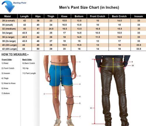 Black Pants New Designer Biker Motorcycle Leather Trousers Flp028 Men`s vqvf6n4wU