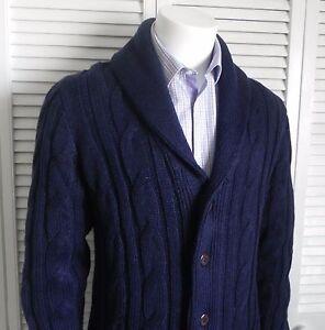 d0b637485b NEW Mens SIZE L ALPACA Navy Blue Shawl Collar Knit Cable Cardigan ...