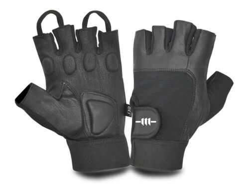 LEATHER PADDED GLOVES CUT FINGER WEIGHT LIFTING BODYBUILDING FITNESS EXERCISE