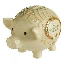 "IRISH PIGGY BANK, Celtic Knot, Claddagh, 5.25"" x 7"" Ceramic, by Grasslands Road"