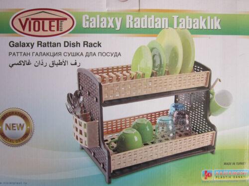 New Double Drip Tray 2 Layer Plastic Dish Drainer Rack Utensil Cutlery Draining
