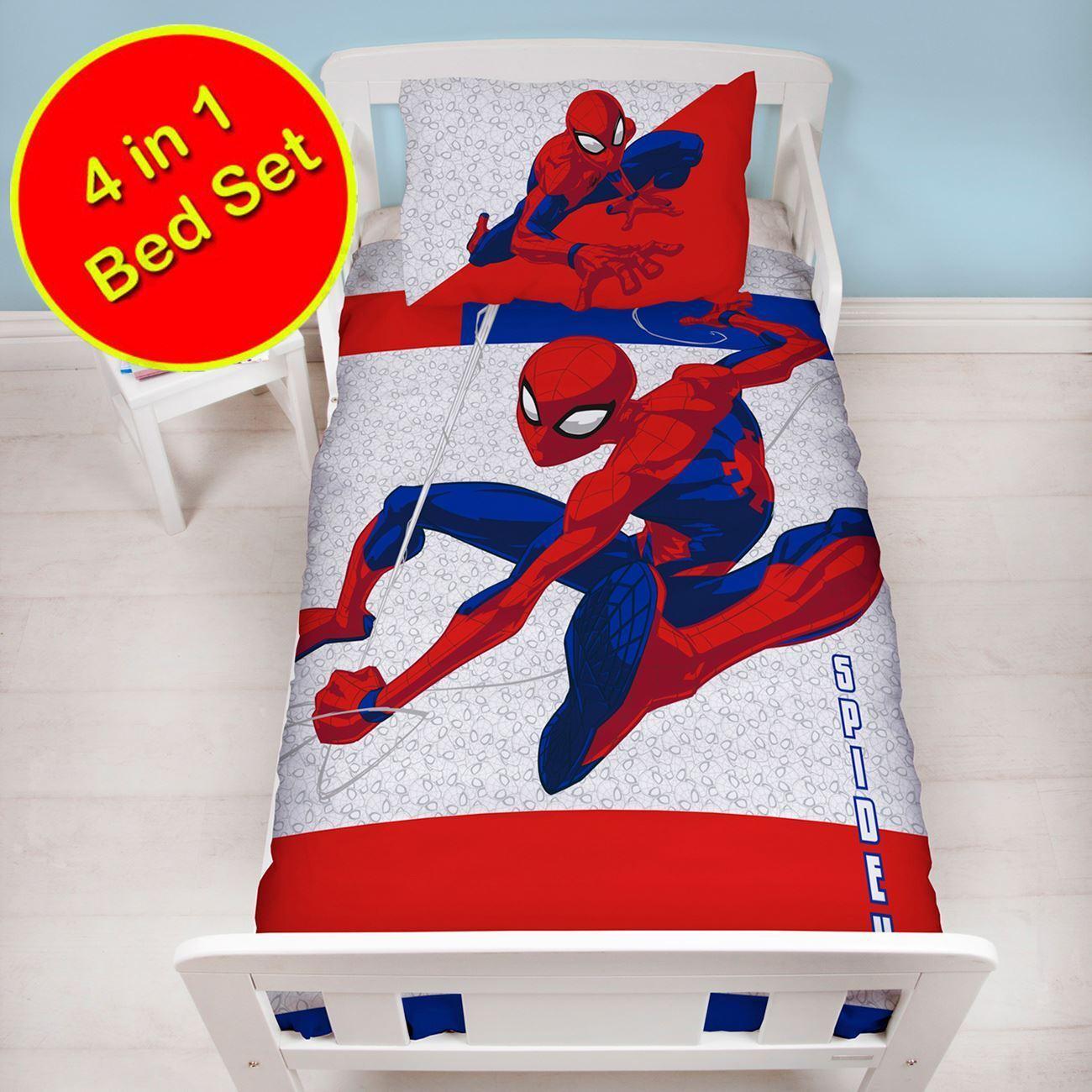 Spiderman 4 in 1 Set da Letto Copripiumino Lettino Metropoli Confezione