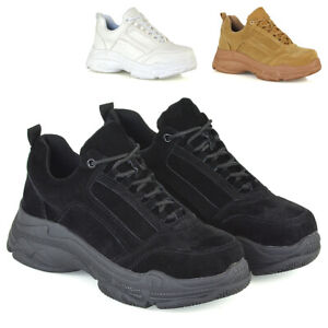 Womens-Lace-Up-Trainers-Chunky-Platforms-Ladies-Sneakers-Retro-Shoes-Size-3-8
