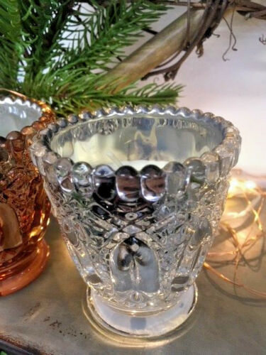 Antique Style Scented Wax Copper or Silver Faceted Glass Candle Holder Votive