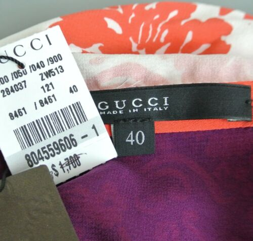 $1700 NEW Authentic Gucci Runway Silk Floral T-Shirt Dress, 284037