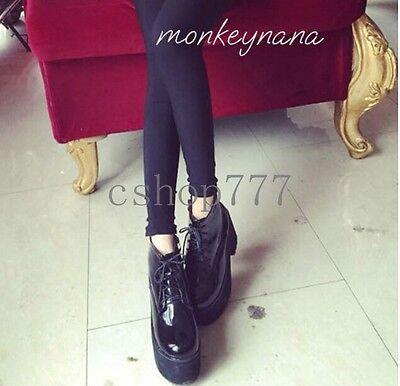 Fashion Womens Black Punk Goth Lace Up Flats Platform Creeper Zipper Ankle Boots
