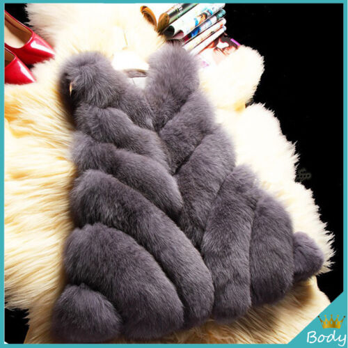 2017 Winter Women Faux Fur Coat Outwear Warm Sleeveless Jacket Super Fluffy