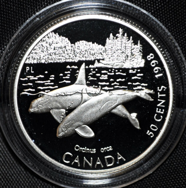 Orca Whale - 1998 Canada 50 cent Proof Sterling Silver Coin