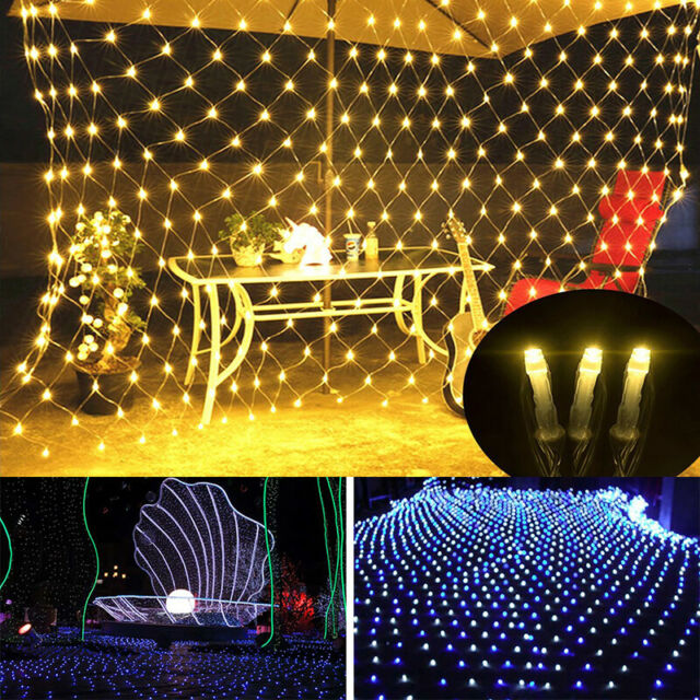 Solar LED String Fairy Lights Curtain Mesh Net Xmas Party Garden Outdoor Decor