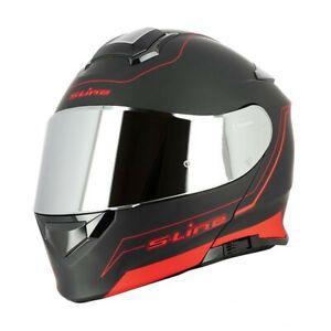 Casque-Moto-Modulable-S550-Noir-Rouge-MAT-Visiere-Chrome-clair-ecran-solaire