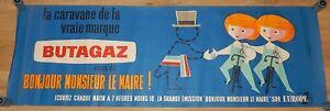 Ancienne-AFFICHE-publicitaire-EUROPE-1-Bonjour-M-le-MAIRE-Caravane-BUTAGAZ