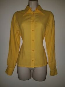 Vintage Yellow Viyella Styled By London Pride Fitted Shirt Top Uk 12 Eu 40 Usa 8 Ebay