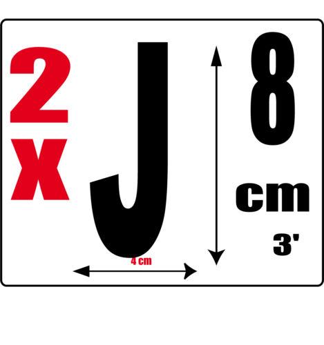 J lot 2 lettres Sticker autocollant noir hauteur 8cm Lettre adhésive en vinyle