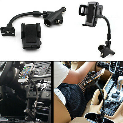 Car Charger Dual USB 2 Port Phone Mount Stand Holder for IPhone Holder Charger