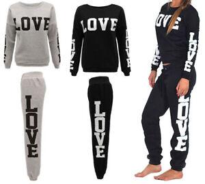 New-Ladies-Women-Love-Print-Tracksuit-Set-Sweatshirt-Jogging-Bottoms-Top-UK-8-14