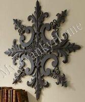 Large Neiman Marcus Ornate Baroque Wall Medallion Art Decor Plaque Metal Iron