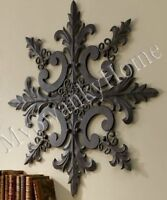 Large Neiman Marcus Ornate Baroque Wall Medallion Art Decor Plaque Metal Iron