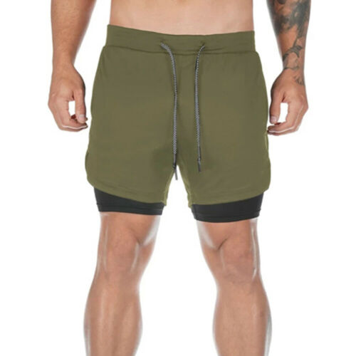 Men/'s 2-in-1 Compression Shorts with Towel Loop Gym Running Athletic Bottoms