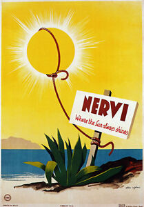 TV68 Vintage 1940/'s A4 NERVI Genoa Italy Italian Travel Tourism Poster Re-print