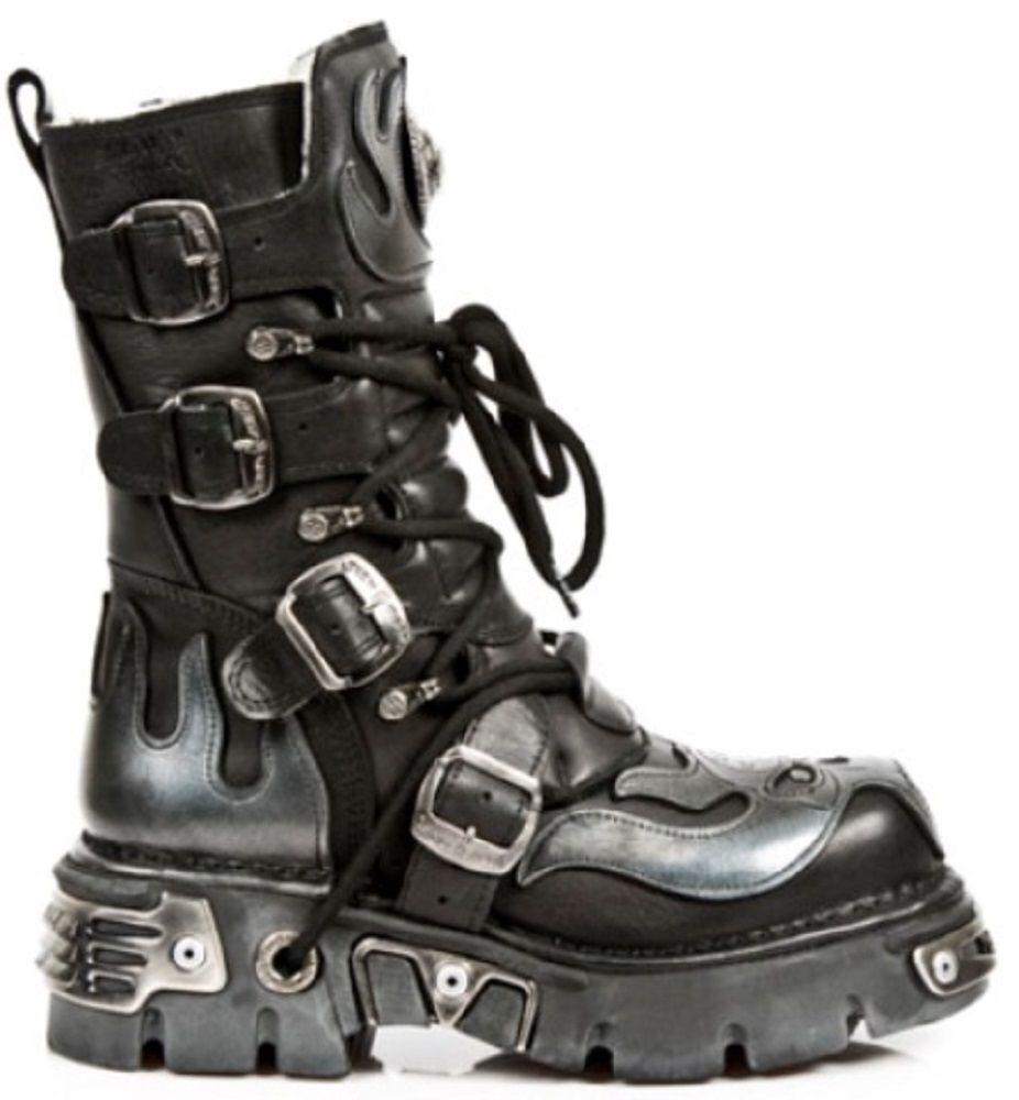 NEW Rock 107-S2 Argento Teschio pelle Diavolo Metallico Nero Vera pelle Teschio Stivali Biker boot 2e3113