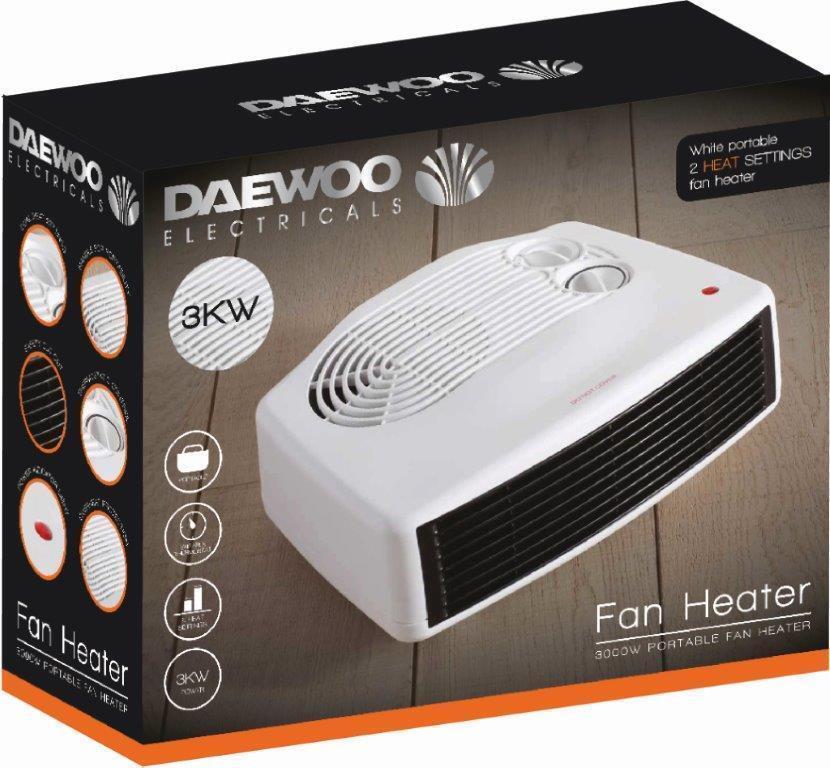 Daewoo Small Quiet Portable Powerful 3kw 3000w Electric Floor Desk Heater Fan