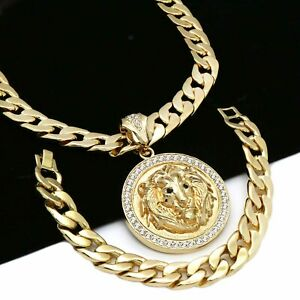 """Mens 14k Gold Plated XL CZ LION Pendant with 30/"""" Cuban Chain and Bracelet B"""
