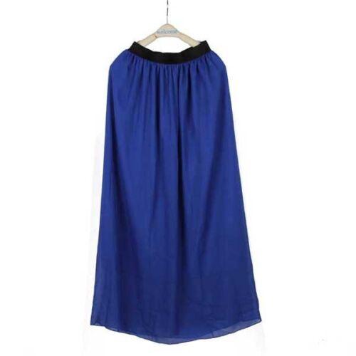 Women Double Layer Chiffon Pleated Retro Long Maxi Dress Elastic Waist Skirt