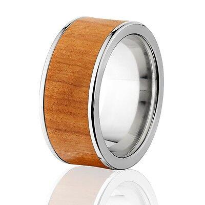 Wood Wedding Rings.Exotic Hard Wood Wedding Band Olive Wood Inlay In Titanium Ring Wood Rings Ebay