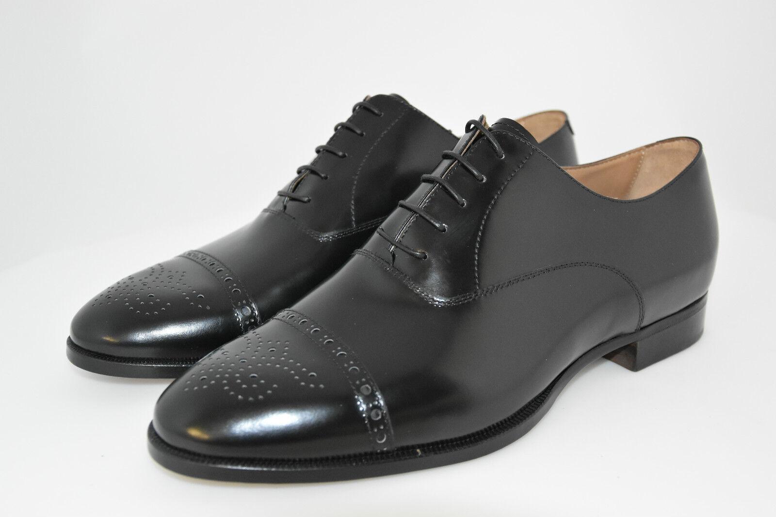 MAN-8½EU-9½US-OXFORD CAPTOE-noir CALF-VITELLO noir-LEATHER SOLE