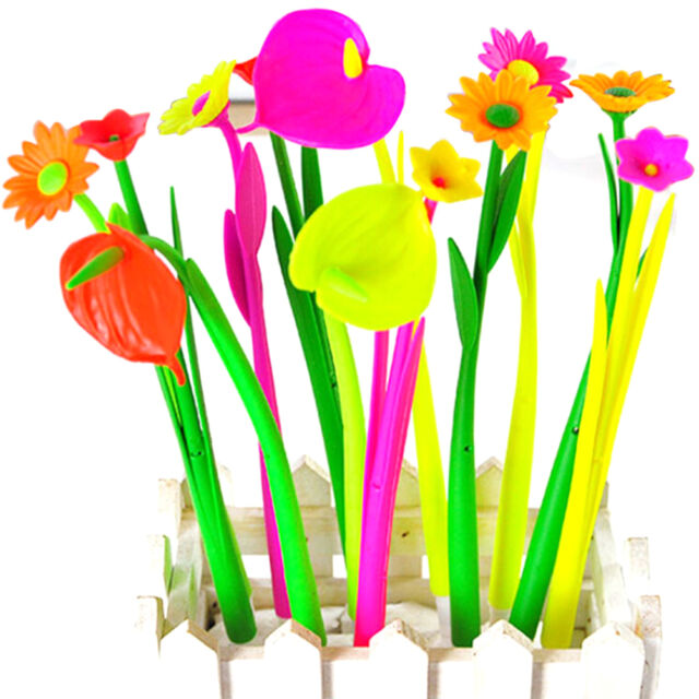 6pcs/lot Style Popular Stationery Gift Lovely Flowers Grass Gel Pen Sign Pen SEA