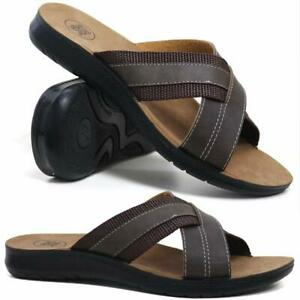 8f30d38b9 MENS SUMMER SANDALS NEW CASUAL WALKING FAUX LEATHER MULES BEACH FLIP ...