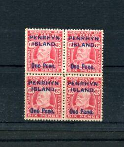 COOK-IS-PENRHYN-1914-15-6d-carmine-block-of-4-mint-2-stamps-um-MNH-SG-22