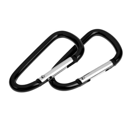 10x Aluminum D Shape Ring Camping Karabiner Snap Clip Carabiner Buckle Black