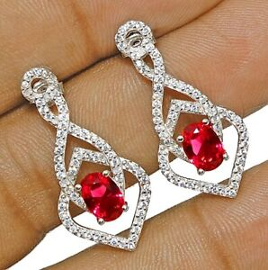 2CT-Ruby-amp-White-Topaz-925-Solid-Genuine-Sterling-Silver-Earrings-Jewelry-Y1
