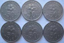 Malaysia 50 sen 1994 coin 6 pcs