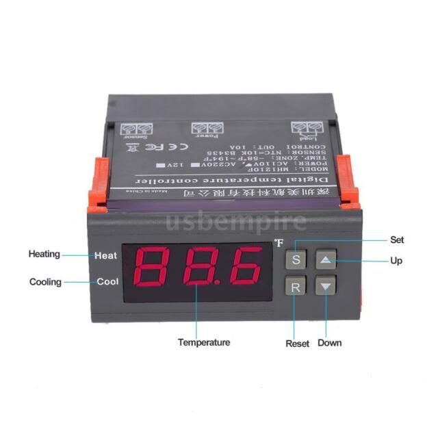 LED Digital 110V Temperature Controller Temp Sensor Thermostat Control Relay US