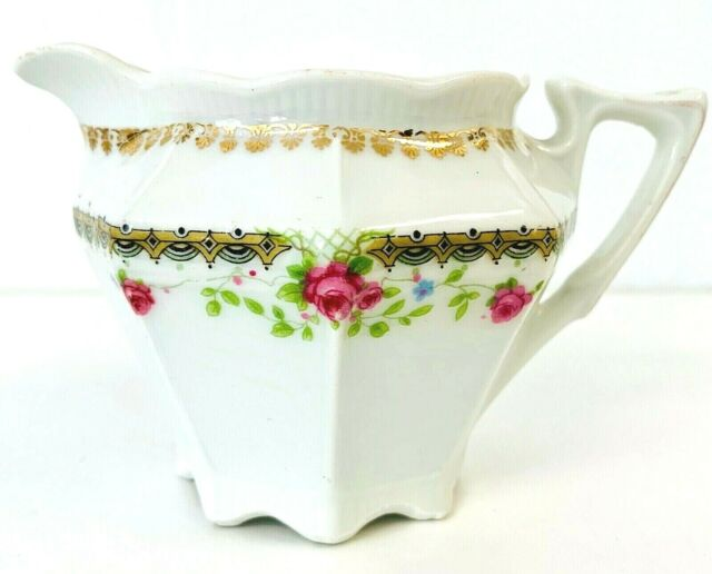 China Creamer White with Rose Pattern Gold Trim Bavaria 3.4