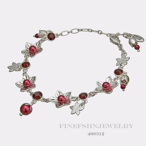 "Authentic Pilgrim Jewelry Silver Tone Flower Red Bracelet 7-9/"" 468302"