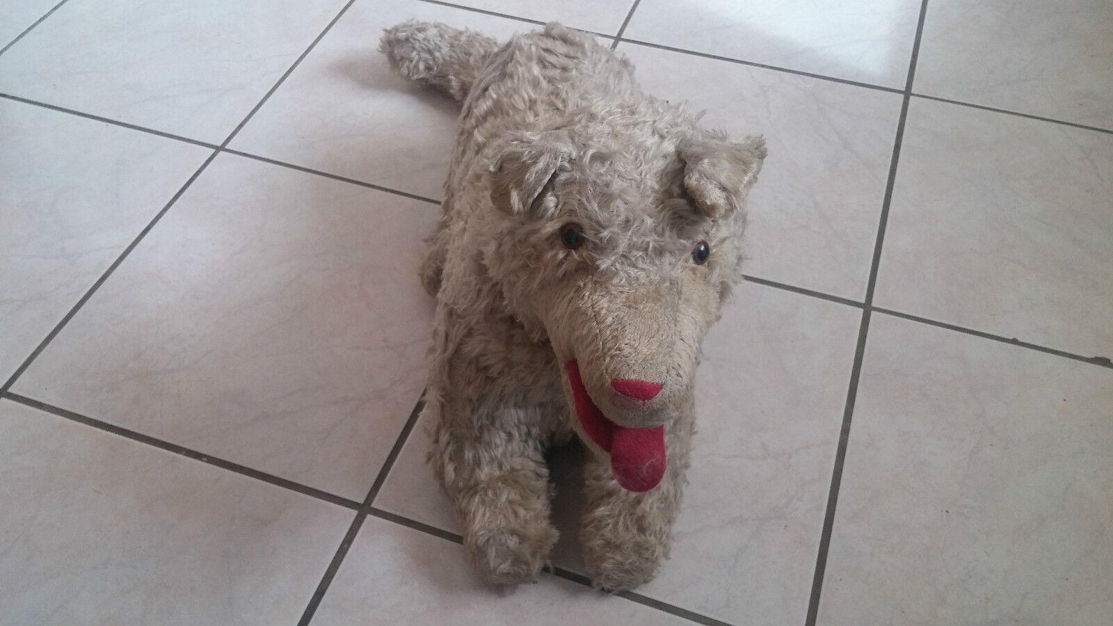 Antik Stofftier Vintage   Hund   70 cm guter Zustand