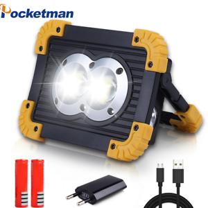 Portable 50 W DEL Lampe de poche chip-on-board Travail Lumière Rechargeable Projecteur 4 modes