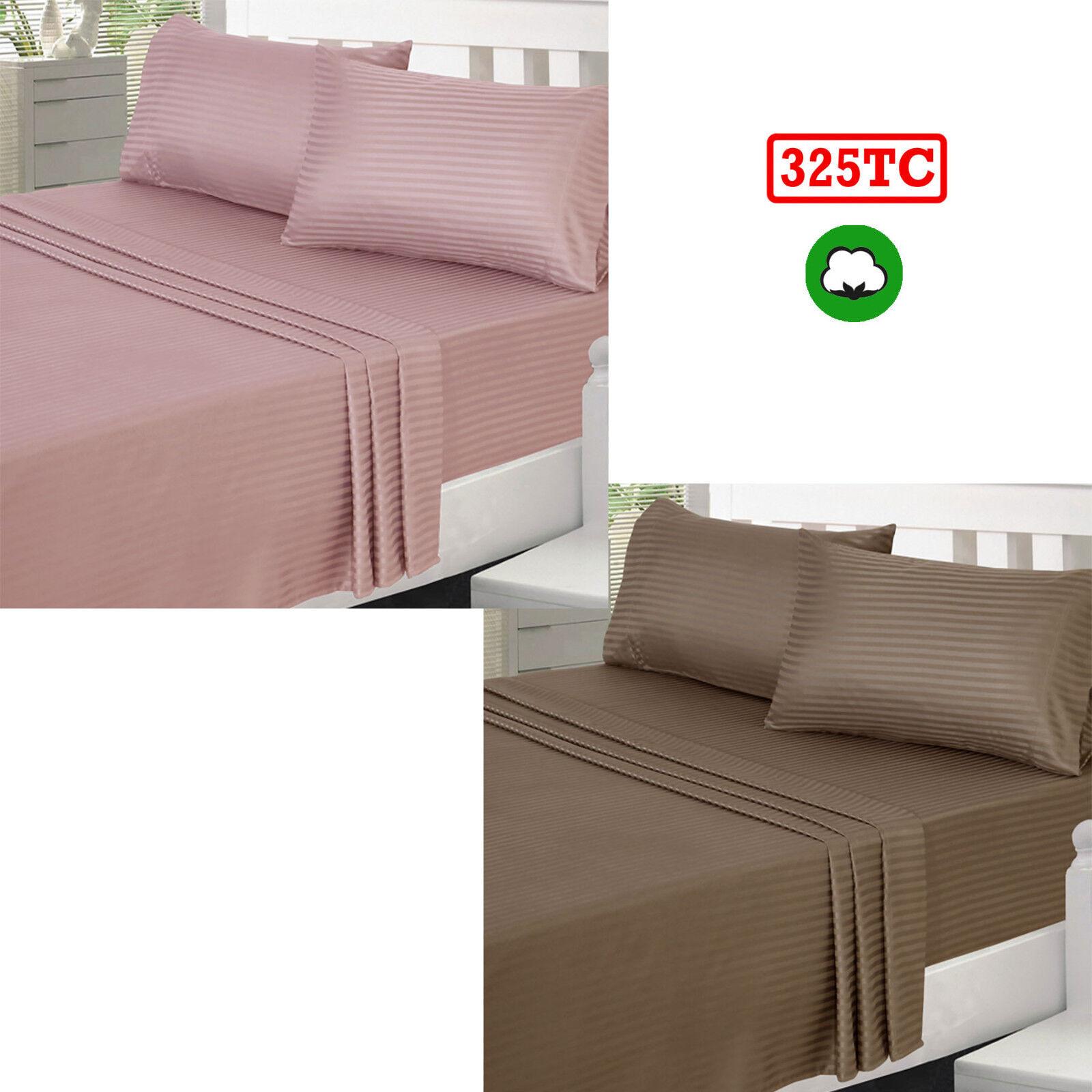Blaush or Mocha Choice - 4 Pce 325TC Quality Cotton Striped Sheet Set KING Größe