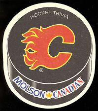 MOLSON BREWERY CANADIAN BEER CALGARY FLAMES NHL HOCKEY TEAM COASTER TRIVIA BACK