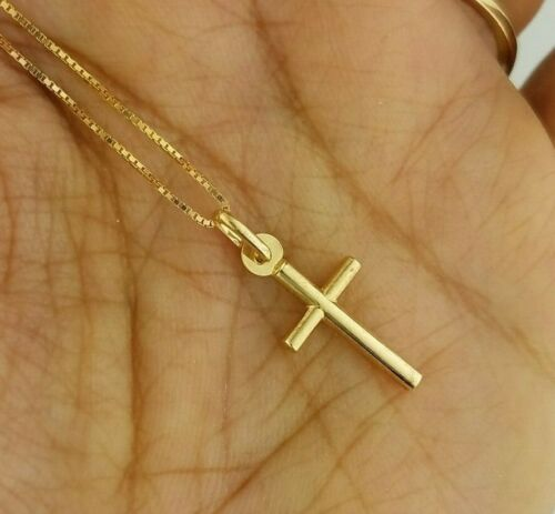 Solid 10K Yellow Gold Plain Cross Pendant Small Charm with 0.6 MM Box Chain